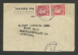 Paire N° 676 / Manchon P/ Journaux LE HAVRE >>> AUTRICHE / Cachet De Censure - 1945-47 Ceres (Mazelin)