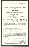 Marquise De Ferrière Le Vayer Comtesse De Liedekerke 1923 Souvenir Pieux - Avvisi Di Necrologio