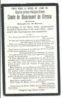 Comte De Hemricourt De Grunne 1911 Bruxelles Souvenir Pieux - Avvisi Di Necrologio