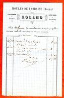 Moulin ROLAND à THORAISE Doubs Facture 1870 Farines Sons Gaudes Signature Du Meunier - France
