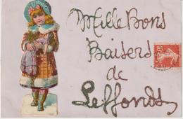 Haute Marne :  Mille  Baisers  De  LEFFONDS (  Petite  Fille  Collée  Sur  Carte ) Destinée  Ivry - France