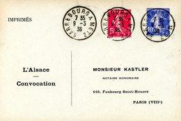 Cachet Ambulant SARREBOURG A METZ Daté Du 09/03/1936 - Alsace-Lorraine