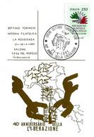 ITALIA - 1985 SETTIMO TORINESE (TO)  40° Anniv. Liberazione (bandiera, Torre Del Castello) Su Cartolina Speciale - Seconda Guerra Mondiale