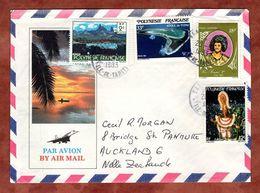 Illustrierter Umschlag Strand, Luftpost, MiF Tupai-Atoll U.a., Tahiti Nach Auckland 1983 (71713) - Französisch-Polynesien