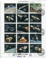 APOLLO 14  MISSION TO THE MOON. YEMEN Y.A.R. AÑO 1969 MICHEL 726A / 740A OBLITERES FEUILLET COMPLETE SERIE - LILHU - Yemen