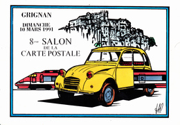 CPM (26) GRIGNAN Bourse Salon Collections 1991 Citroën 2 CV 2 Pattes TGV Tirage Limité Illustrateur P. ARMAND (2 Scans) - Grignan