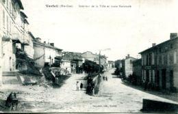 N°72197 -cpa Verfeil -intérieur De La Ville Et Route Nationale- - Verfeil