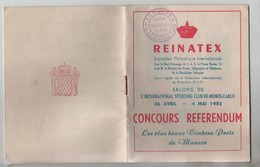Livret Reinatex Monte Carlo 1952 Monaco Concours Référendum - Vieux Papiers