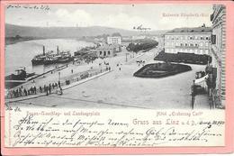 Gruss Aus Linz - Donau Umschlag Und Landungsplatz Kaiserin Elisabeth-Kai Hotel Erzherzog Carl - Linz