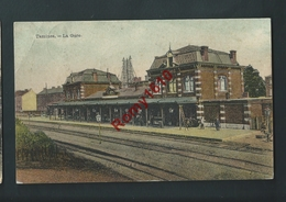 TAMINES. La Gare En Couleur. Gros Plan Animé.Voyagée En 1908. 2 Scans. - Sambreville