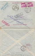 LETTRE 1946 PAR AVION. 30Fr. PAIRE N° 727 GANDON. BAR SUR SEINE POUR OTTAWA CANADA. 5 GRIFFES ET CACHET  /  4 - 1921-1960: Modern Period