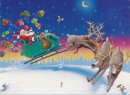 THEMES - Fêtes - Voeux - Joyeux Noël : CP  Père Noël Et Son Traineau - Jouets - Humour - Santa Claus
