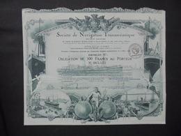 STE DE NAVIGATION TRANSOCEANIQUE - OBLIGATION 500 FRS  6% - PARIS 1920 - BELLE ILLUSTRATION - Shareholdings