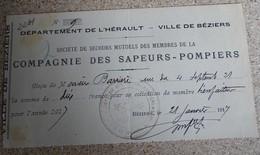 Reçu  Compagnie Des Sapeurs Pompiers - Ville De Béziers 1917 - France