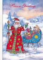 THEMES - Fêtes - Voeux - Joyeux Noël : Bonne Année - Père Noël, Son Traineau Et Ses Jouets - Santa Claus
