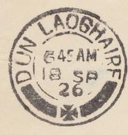 1926 CACHET DUN LAOGHAIRE AVEC CROIX, DEVANT DE LETTRE DE PARIS AVEC PASTEUR 1,50Fr POUR ROYAL BANK DUBLIN  /  4 - 1922-37 Stato Libero D'Irlanda
