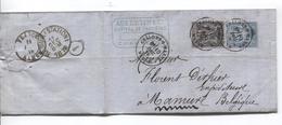 SJ84 /France TP 89-90 S/LAC écrit Du Château De Fagnières Vins De Champagne Aubertin C.Chalons S/Marne 1878 V.Belgique - Vins & Alcools