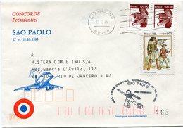ENVELOPPE CONCORDE VOL PRESIDENTIEL SAO PAOLO VOL DU 17 AU 18-10-1985 - Concorde