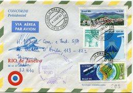 ENVELOPPE CONCORDE VOL PRESIDENTIEL RIO DE JANEIRO VOL DU 16 AU 17-10-1985 - Concorde