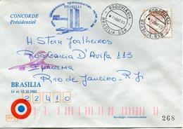 ENVELOPPE CONCORDE VOL PRESIDENTIEL BRASILIA VOL DU 14 AU 15-10-1985 - Concorde