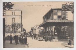 CPA Arcachon - Boulevard De La Plage - Place Thiers (jolie Animation Devant Magasins) - Arcachon