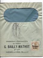 SJ/89 TP Oc 15 S/L.Entête G.Bailly-Mathot Ch^née-lez-Liège C.Chenée 1918 Censure Lüttich - Guerra 14 – 18