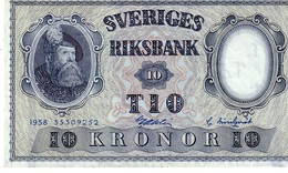 Sweden P,43 10 Kronor 1958 Au+++ - Svezia