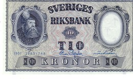 Sweden P,43 10 Kronor 1957 Au+++ - Svezia