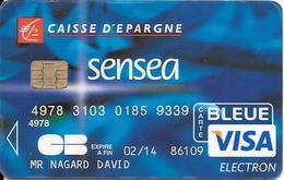 -CARTE+-PUCE-MAGNETIQUE-CB-CREDIT CAISSE D EPARGNE-SENSEA-VISA-02/14-OBERTHUR 01/06--BE-RARE - Cartes Bancaires Jetables