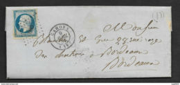 Lot-Lettre-PC 580 De Cahors Sur N°14A-Boite Rurale D - 1849-1876: Période Classique