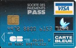 -CARTE+-PUCE-MAGNETIQUE-CB-CREDIT/SociéTé Des PAIEMENTS PASS-VISA-05/05-SCHLUMBERGER-12/02--TBE-RARE - France