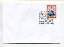 AJEDREZ, LADY DIANA & PRINCIPE CARLOS. SOBRE URUGUAY 1981 ENVELOPE SPC MATASELLO ESPECIAL CHESS- LILHU - Ajedrez