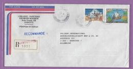 LETTRE RECO. DE DJIBOUTI POUR LES ETBS. PELIKAN(ENCRES). - Djibouti (1977-...)