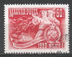 Hungary 1950. Scott #892 (U) Blast Furnace, Tractor, Workers Holding Maypole * - Oblitérés