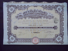 CASINOS ET HOTELS - HENRY RUHL ET CIE - PART BENEFICIAIRE - PARIS 1911 - Actions & Titres