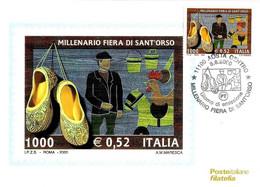 ITALIA - 2000 AOSTA Millenario Fiera Di SANT'ORSO Ann. Fdc Su Cartolina PT - Vacanze & Turismo