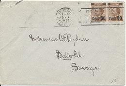 Italy Cover Sent To Sweden Venezia 15-10-1923 Overprinted Stamps - 1900-44 Vittorio Emanuele III