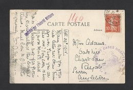 Semeuse 135 10c Rouge Sur CP Vassincourt  En Anglais Du 31/10/15 Contrôle Militaire Urgency  Cases Hospital - Marcophilie (Lettres)