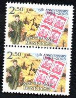 New Zealand Wine Post Anniversary Pair- Stamp On Stamp. - New Zealand