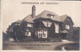 Kontich Gedenkenis Uit Contich Villa Waarop In October 1914 De Stad Antwerpen Is Overgegeven - Kontich