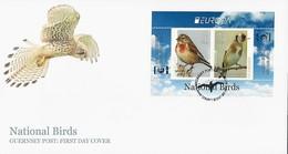 "GUERNSEY - EUROPA 2019 - NATIONAL BIRDS & SYMBOLISH.- ""AVES - BIRDS - VÖGEL - OISEAUX""-  FDC De La HOJITA BLOQUE EU - 2019"