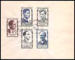 9809 N°1100/1104 Heros De La Resistance 1957 France Lettre Cover - Marcophilie (Lettres)