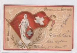 GRUSS AUS DER SCHWEIZ. CPA CIRCULEE 1901 A USA - BLEUP - Gruss Aus.../ Gruesse Aus...