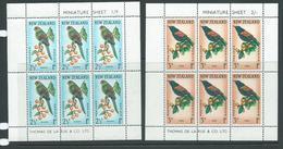 New Zealand 1962 Birds Tieke Kakariki Health Charity Miniature Sheets MNH - New Zealand
