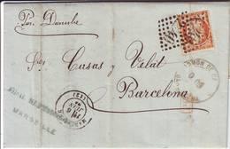 Cachet ADMON DE CAMBIO BARCELONA Au RECTO Lettre De Marseille 1874 Pour L' Espagne - Marcophilie (Lettres)
