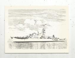 Carte De Voeux , Nouvelle Année , Bateau De Guerre , 2 Scans - Warships