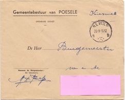Omslag Enveloppe - Gemeentebestuur Poesele - Stempel  Nevele 1965 - Entiers Postaux