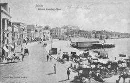 "07899 ""MALTA - SILEMA LANDING PLACE"" ANIMATA - CARRROZZE E CAVALLI. CART ORIG. SPED. 1926 - Malta"