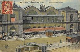 Paris - Gare Montparnasse (Station) Tramway - Carte L'Abeille N° 161 Colorisée - Stations, Underground