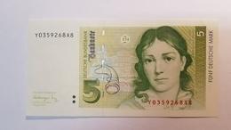 5 DM 1991 Ersatznote Y, Fast Kassenfrisch, Replacement Note Prefix Y About UNC - [ 7] 1949-… : RFA - Rép. Féd. D'Allemagne